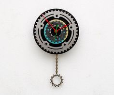 Recycled Bike Chainring and 45 Record Clock by pixelthis on Etsy, $69.00