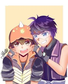 """when BoBoiBoy was caught eating Fang's carrot donuts Boboiboy Anime, Anime Kiss, Anime Couples Manga, Cute Anime Couples, Anime Art, Boboiboy Galaxy, Anime Galaxy, Fruits Basket Anime, Kimi Ni Todoke"