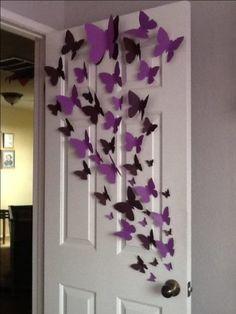 Borboletas enfeitando a porta do quarto. http://conexaodecor.com/2017/11/borboletas-na-decoracao-e-uma-paixao/