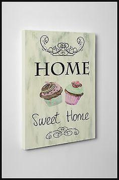 QUADRI MODERNI STAMPA SU TELA CANVAS SCRITTE SHABBY CHIC HOME SWEET HOME