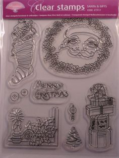 PERGAMANO CLEAR STAMPS - SANTA      Clear stamps Santa Claus & gifts contains nine pictures. The pictures fit exactly in the corresponding pictures on multi grid 30 Victorian Christmas (31439). We advise StazOn stamp ink for stamping on parchment paper.