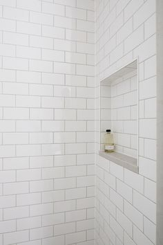 A Serene Bathroom Renovation - white subway tile with light gray grout Tile Shower Niche, Shower Grout, White Subway Tile Bathroom, Subway Tile Showers, Bathtub Tile, Shower Alcove, White Bathrooms, Luxury Bathrooms, Master Bathrooms
