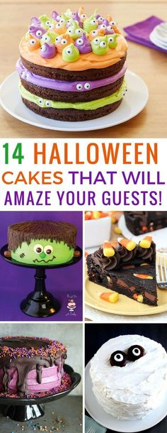 Hallowen Party 14 Easy Halloween Cake Recipes for Kids - Perfect for Parties! , 14 Easy Halloween Cake Recipes for Kids - Perfect for Parties! 14 Easy Halloween Cake Recipes for Kids - Perfect for Parties! Halloween Torte, Pasteles Halloween, Bolo Halloween, Halloween Baking, Halloween Goodies, Halloween Food For Party, Halloween Treats, Halloween Kids, Easy Halloween Cakes