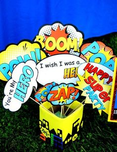 SUPERHERO Party - Superhero POWER BURSTS/PHOTO BOOTH PROPS - Superhero Birthday Party - Comic