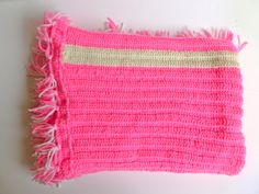 Neon Pink and White Striped Vintage Handmade Crochet by EggnOlive, $32.00