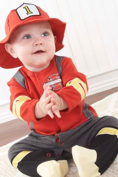 Big Dreamzzz Baby Firefighter Two-Piece Layette Set in Firefighter Gift Box