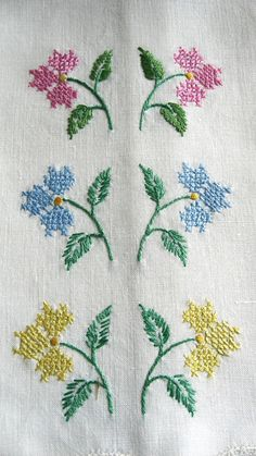 Cross-Stitch Guest Towels Vintage Hand-Embroidered by Meeshy
