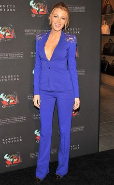 Blake Lively's Best Looks  Sharp and sexy! The Gossip Girl star looks stunning in this blue Elie Saab suit with lace shoulder details as she attends the grand opening of Gaga's Workshop at Barneys New York. In true Gaga fashion, Blake casually forgets her shirt.
