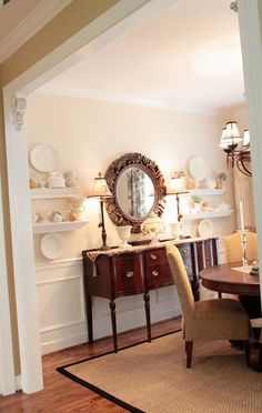 Really like the corbels in the corners -- this is just like our living/dining room layout Dining Room Shelves, Dining Room Walls, Dining Room Furniture, Dining Area, Furniture Layout, Furniture Arrangement, Antique Furniture, Furniture Ideas, Dining Room Inspiration