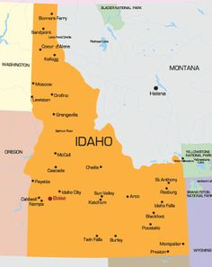 Easy to read reference map of our state.  The larger cities are Boise (SW), Nampa (SW),Twin Falls (S Central), Pocatello (SE), Idaho Falls (E), Lewiston (Mid North West) and Coeur d'Alene (North).  Challis ( a small city) is located in the central part of the state.