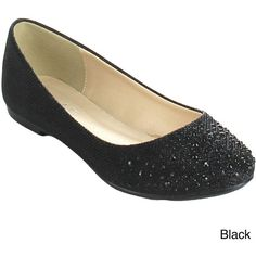 Bonnibel 'Great-5' Women's Sparkling Glitter Slip-on Ballet Flats ($34) ❤ liked on Polyvore featuring shoes, flats, black, ballet pumps, black skimmer, sparkly flats, black ballet flats and black ballet pumps