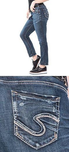ecc69261fa23 Silver Jeans Women's Plus Size Suki Curvy Fit Mid-Rise Ankle Slim Jeans,  Dark