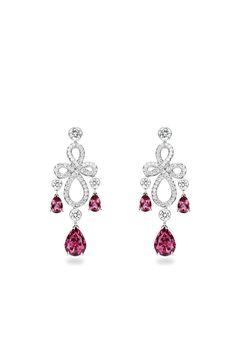 Earrings in white gold set with 118 brilliant-cut diamonds and 6 pear-shaped red spinels