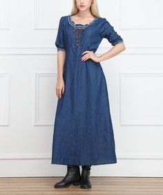 Love this Blue Lace-Up Denim Maxi Dress - Women by Miss Maxi on #zulily! #zulilyfinds