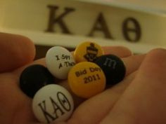 WE SHOULD GET THETA COLORED M'S W/ KAT AND THE CREST ON THEM AND MIX THEM WITH PRETZELS FOR RECRUITMENT SNACK!