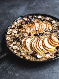 Baked Pear, Hazelnut and Chocolate Oatmeal