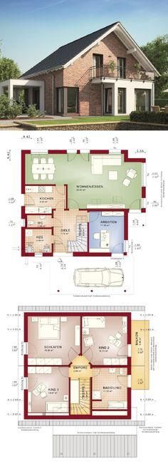 Satteldach Haus modern mit Klinker Fassade, Carport Anbau & Wintergarten Erker - Einfamilienhaus bauen Grundriss Fertighaus Evolution 143 V8 Bien Zenker Hausbau Ideen - HausbauDirekt.de