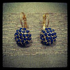 Brinco de Pedra Bolinhas Azul