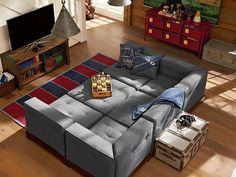 Cushy Vintage Lounge in suede light grey on storage bases for extra height and uh, storage, of course!!