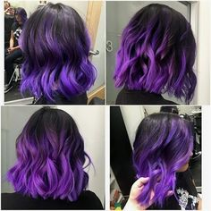 35 Short Ombre Hair Color Ideas for Brunettes That Are Trending for Short Ombre Hair Are you looking for short hair ombre? Then these 35 short ombre hair color ideas for brunettes that are trending for 2019 will be yo. Bright Hair Colors, Hair Color Purple, Cool Hair Color, Brown Hair Colors, Bright Purple Hair, Purple Hair Highlights, Purple Wig, Hair Colours, Brown Ombre Hair