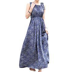 Blue Floral Vintage Maxi Dress