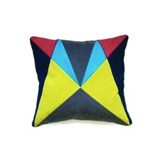 Fun Makes Good AU Geometric Cushion in Tweed Velvet: A beautiful limited edition patchwork cushion handmade by Fun Makes Good in tweed & velvet.