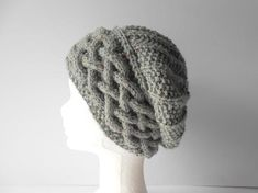 Cable knit beanie, Slouch Beanie Women, Grey Slouchy Hat, Hand knit Beret, Slouchy beanie, Warm winter hat, Gift for Girlfriend. Grey Beret.