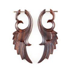 Angel Wing Earrings  Fake Gauge Earrings  Wood by NoHolesBarred