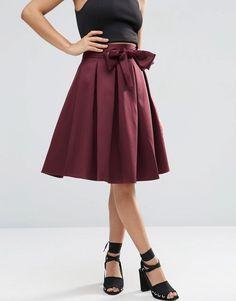 Image 4 ofASOS Prom Skirt with Self Belt in Bonded Satin