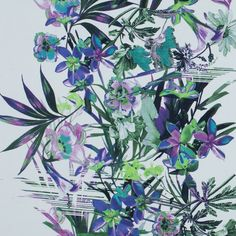 The perfect balance between the digital age and natural beauty, this White Floral Border Printed Stretch Cotton Twill will create a number of unique pieces. A combination of greens and purples create enhanced images of wild flowers.