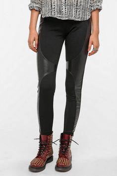 UO Sparkle & Fade Ponte Knit and Faux Leather Legging