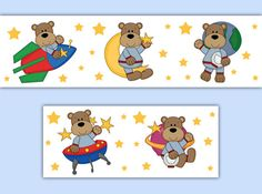 Astronaut Teddy Bears Wallpaper Wall Border Decals Outer Space Baby Boy Nursery #decampstudios