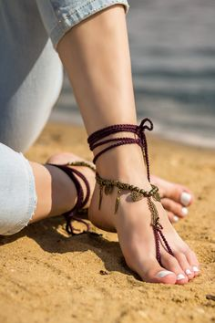 Boho barefoot sandals Beach wedding Bottomless sandals Foot jewelry Soleless sandals Bare foot sandals Anklet Festival clothing Feathers by ElvishThings on Etsy