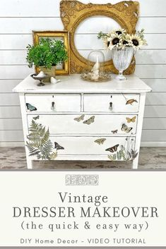 Looking for a quick and easy dresser makeover idea? Check out this video tutorial showing you how to use IOD Decor Transfers on a vintage white painted dresser. Perfect for anyone who loves to DIY home decor but doesn't have a ton of time! Dresser Design, Simple Dresser, Decor, Furniture Makeover Diy, Diy Home Decor, Home Diy, Vintage Dresser Makeover, Diy Home Decor Projects, Diy Furniture