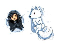 "Title of artwork on shirt: ""Snow Angles""  --Awwww! Jon Snow and his Dire Wolf ""Ghost"" making snow angles!!!--"
