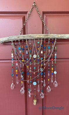 Diy Wind Chimes, Glass Wind Chimes, Rustic Wind Chimes, Bead Crafts, Diy Crafts, Jewel Colors, Driftwood Crafts, Beads And Wire, Recycled Glass