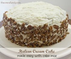 This Italian Cream Cake with cake mix is fabulous and full of coconut and pecans topped with cream cheese frosting.