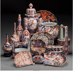 A Group of Sixteen Japanese Imari Porcelain Vess on LiveAuctioneers Japanese Porcelain, Japanese Pottery, Ceramic Mugs, Ceramic Pottery, Pottery Vase, Antique Bottles, Vintage Bottles, Vintage Perfume, Japanese Bowls