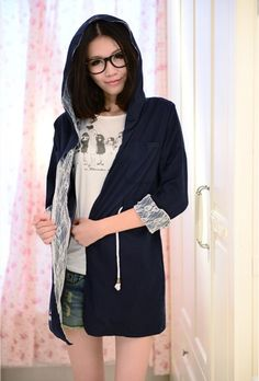 Navy Coat Women Autumn Long Sleeve Korean Style Cotton Lace One Size @WH0289n