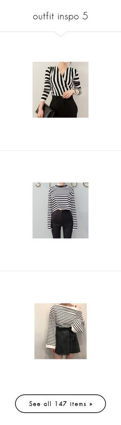 """outfit inspo 5"" by yoonkimin ❤ liked on Polyvore featuring tops, women, striped top, striped long sleeve top, long sleeve tops, stripe top, sleeve top, t-shirts, shirts and striped long sleeve shirt"