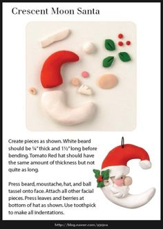 Tutorial: Santa Claus Moon (Polymer Clay - Fimo -Z Polymer Clay Ornaments, Fimo Clay, Polymer Clay Projects, Polymer Clay Creations, Natal Diy, Polymer Clay Christmas, Christmas Preparation, Diy Weihnachten, Clay Charms