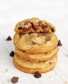 Chocolate Chip Cookies with Toasted Coconut- so good!