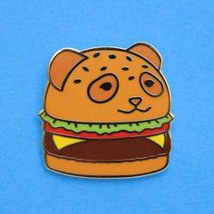 Kawaii Panda Burger Hard Enamel Lapel Pin by Pteroble. Cuter humburger with a panda bear shaped bun! Like Shirokuma Cafe. #pingame #flairgame #flair
