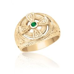 10K Yellow Gold Men's Celtic Cross Ring with Stone