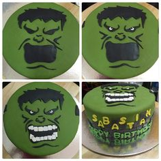 An Incredible HULK Fondant Cake for the incredible birthday boy It's a two-flavored cake and not so sweet. kids definitely love it. Another creation of Mini Tortillas, Hulk Birthday Parties, Birthday Cakes, Decors Pate A Sucre, Hulk Cakes, Marvel Cake, Hulk Party, Avenger Cake, Cake Design Inspiration