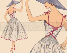 vintage French DRESS sewing pattern 50s PDF by borisbeka on Etsy, $7.50