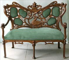 French 19th Century Carved Art Nouveau Settee