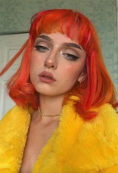 59 Fiery Orange Hair Color Shades: Orange Hair Dyeing Tips - Frisuren Diy Beauty Makeup, Hair Makeup, Hair Beauty, Hair Color Shades, Hair Dye Colors, 90s Grunge Hair, Yaki Hair, Alternative Makeup, Aesthetic Hair