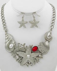 Elegant Silver Tone Mixed Sea Life Starfish Shell Coral Design Necklace Earrings