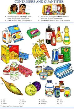 46 - CONTAINERS AND QUATITIES A - Picture Dictionary - English Study, explanations, free exercises, speaking, listening, grammar lessons, reading, writing, vocabulary, dictionary and teaching materials